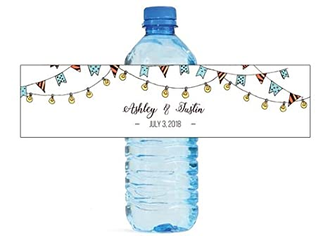 hand drawn market lights wedding anniversary engagement party bridal shower water bottle labels birthday party bridal