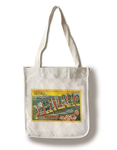 (Lantern Press Greetings from Portland, Oregon - Vintage Halftone (100% Cotton Tote Bag - Reusable))