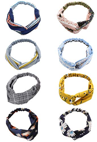 Cross Pattern Yellow (Ytzada Women 8 Pack Headbands Boho Floral Criss Cross Head Wrap Vintage Elastic Printed Fashion Hair Band)
