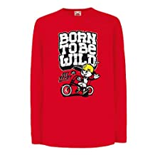 """Funny t shirts for kids Long sleeve funny joke """"Born to be wild"""" funny quote t shirts"""