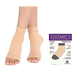 Zoomie's Plantar Fasciitis Socks - Heel, Arch Support Socks, Achilles Tendon and Ankle Support Brace - Foot Sleeve - 1 Pair (Sand, X-Large)