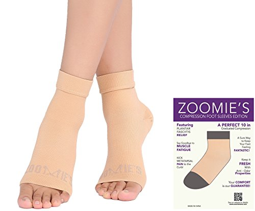 Zoomies Plantar Fasciitis Socks - Heel, Arch Support Socks, Achilles Tendon and Ankle Support Brace - Foot Sleeve - 1 Pair (Sand, Large)