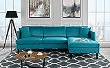 Mid Century Modern Velvet Sectional Sofa, L-Shape Couch (Blue)