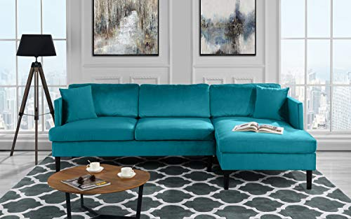 Mid Century Modern Velvet Sectional Sofa, L-Shape Couch (Blue) (Couch Sectional Teal)
