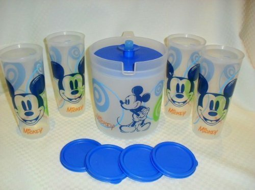 (Tupperware Mickey Mouse Pitcher and Set of 4 Tumblers)