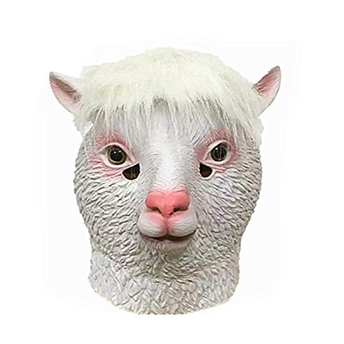 STOBOK Animal Head Mask Halloween Latex Masks Alpaca Cosplay Mask Prank Prop Halloween Costume]()