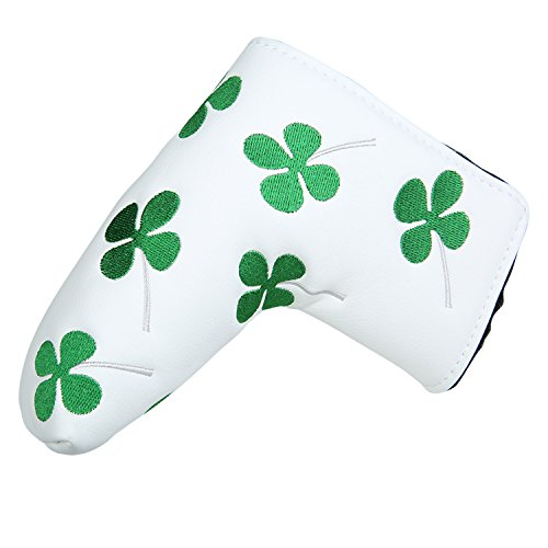 White Green Shamrock Lucky Clover Putter Head Cover Four Leaf Clover Headcover For for Scotty Cameron Ping Odyssey Taylormade (Hybrid Putter Headcovers)