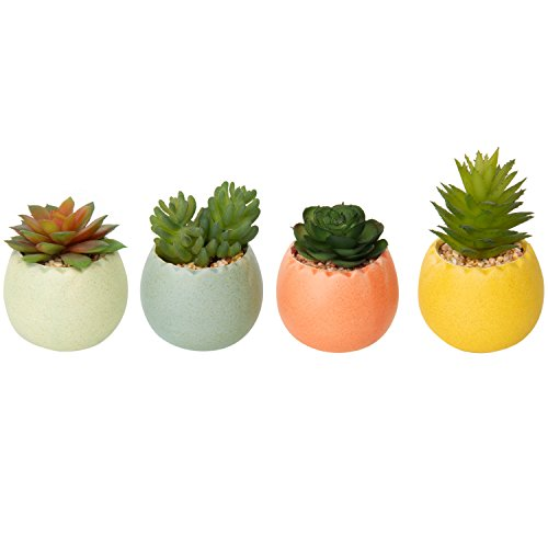 Multi Colored Ceramic - MyGift Artificial Succulent Plants in Multicolored Ceramic Pots, Set of 4