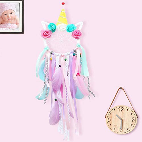 ZUEXT Unicorn Dream Catchers for Kids, Handmade Pink Flower Feathers Dreamcatcher for Girls Bedroom Wall Hanging Decoration, Unicorn Nursery Decor, Magical Unicorn Theme Birthday Party Blessing - Bedroom Magical