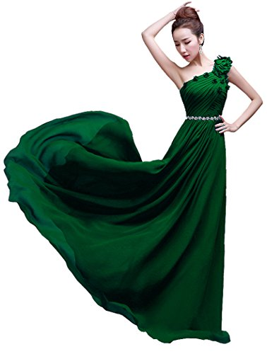 Shoulder lang Brautjungfer Kleid Dunkelgrün Beauty bodenlang Emily One vqwZnRF