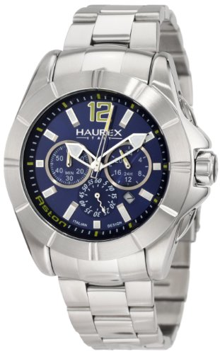 Haurex Italy Men's 0A366UBB Aston Chronograph Blue Dial Stainless Steel Watch - Aston Watch Stainless Steel