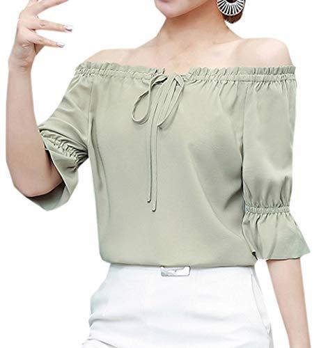 Bateau Clair Fashion Blouse Monika Tees Femmes Hauts T t Col Vert Manche Couleur Tops Chemises Shirts Casual Mousseline Demi Unie BBfFnH