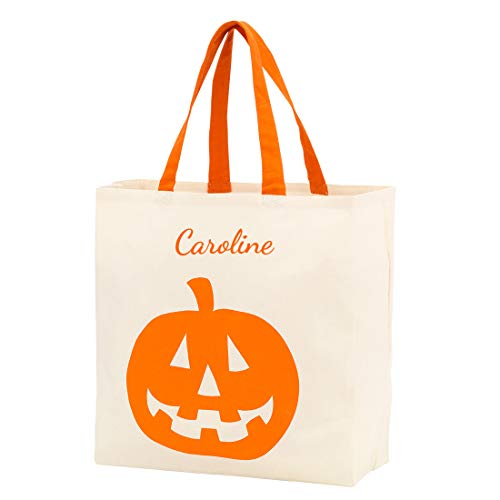 Custom Personalized Halloween Bag Trick or Treat Tote Storage Pumpkin Witch Monster Princess (Personalized - Jack O Lantern -