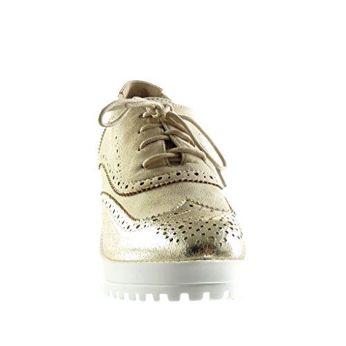 Angkorly - Chaussure Mode Richelieu plateforme femme perforée brillant Talon compensé plateforme 7.5 CM - Or