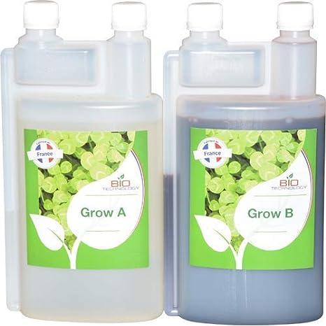 Bio Technology® | Fertilizante Mineral de Crecimiento Universal | Fertilizante de Crecimiento | Alta Eficiencia para Toda Clase de Plantas | Mejora el Rendimiento | Grow A + B - 1 L