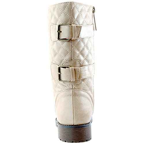 DailyShoes Women's Military Lace up Buckle Combat Boots Mid Knee High Exclusive Quilted Credit Card Pocket, Quilted Ivory White Pu, 13 B(M) US by DailyShoes (Image #9)