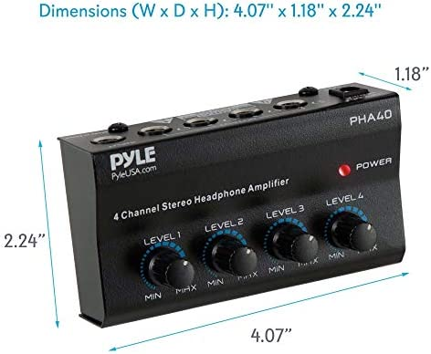 "4-Channel Portable Stereo Headphone Amplifier – Professional Multi Channel Mini Earphone Splitter Amp w/ 4 ¼"" Balanced TRS Headphones Output Jack and 1/4″ TRS Audio Input For Sound Mixer – Pyle PHA40 41MEznRNhML"