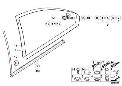 BMW Genuine Door Window Lifting Rear Right Railing Gasket Gloss Black 323Ci 325Ci 328Ci 330Ci M3