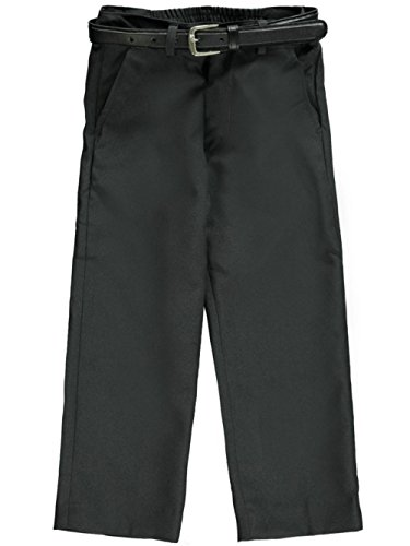Gray Charcoal Dress Pants (Vittorino Little Boys' Toddler Flat Front Belted Dress Pants - charcoal gray,)
