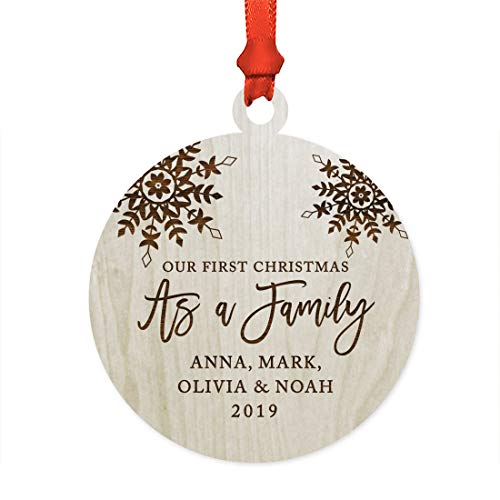 Andaz Press Personalized Blended Family Laser Engraved WOD Christmas Ornament, Our First Christmas as a Family 2019, Snowflakes, 1-Pack, Includes Ribbon and Gift Bag, Custom Name ()