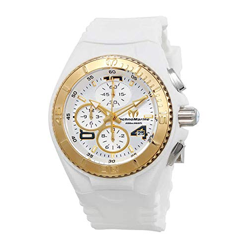 Technomarine Women's 'Cruise' Quartz Stainless Steel and Silicone Casual Watch, Color:White (Model: TM-115103) (New Technomarine Chronograph Steel Stainless)