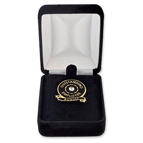 10 Pack- PinMart's Velour Jewelry Lapel Pin Gift Box - Black Lapel Pin Box