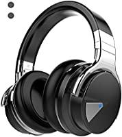 COWIN E7 Wireless Bluetooth Headphones with Microphone Hi-Fi Deep Bass Wireless Headphones Over Ear, Comfortable Protein Earpads, 30 Hours Playtime for Travel Work TV Computer - Black