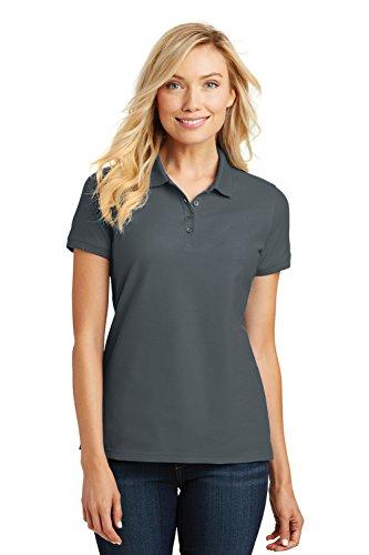 (Port Authority Ladies Core Classic Pique Short Sleeved Golf Polo, Medium, Graphite)