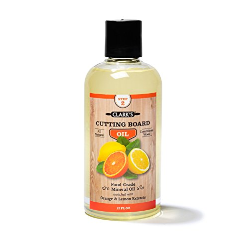 CLARK'S Cutting Board Oil (12ounces) | Enriched with Lemon & Orange Oils | Food Grade Mineral Oil |Butcher Block Oil & Conditioner (Tung Oil Wax)