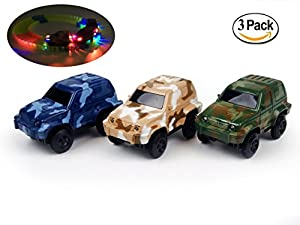 Replacement Toy Car Blue, Brown and Dark Green Jeeps (3-Pack) with 3 LED Lights Compatible with Most Tracks Including Magic Track for Boys and Girls