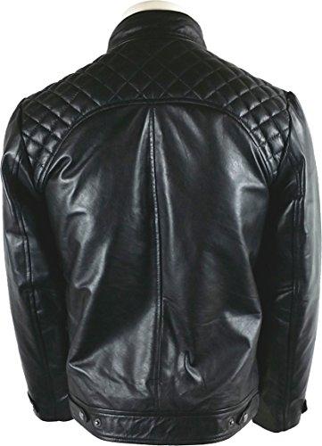 UNICORN Hommes Classique le Style Motard Veste - Réal Cuir Veste - Noir #3P