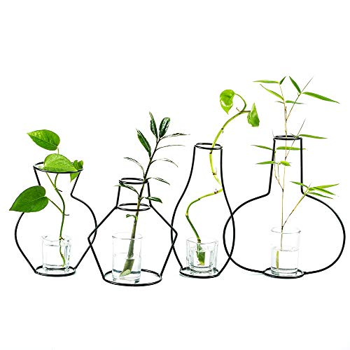 Sfeexun Set of 4 Creative Desktop Planter Set with Glass Cup Vases Iron Metal Stand for Water Planting Flower Arrangement Decoration Gift for Home Wedding Centerpieces Décor (4 Pcs)
