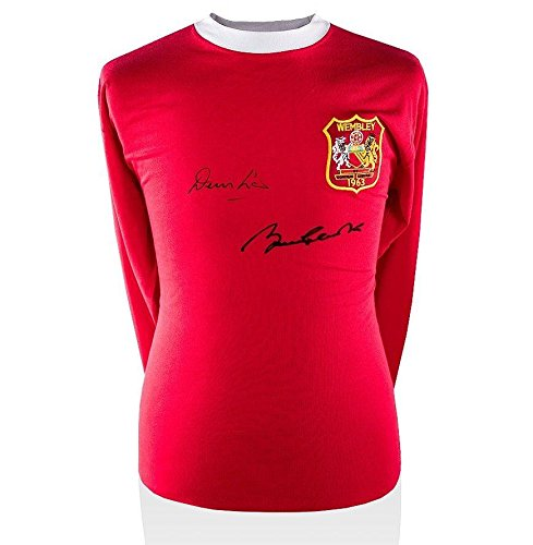 Denis Law & Bobby Charlton Signed Manchester United Shirt - 1963 FA Cup Final - Autographed Soccer Jerseys