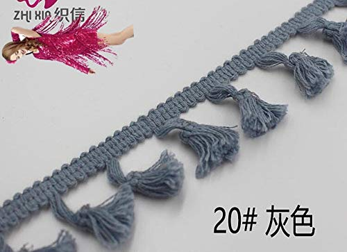(Kamas 25 Yds Short Fringe Tassel 100% Cotton Trimming Lace Trim Dance Latin Dress Macrame Samba Clothing Lace Huality 4.5CM - (Color: Grey))
