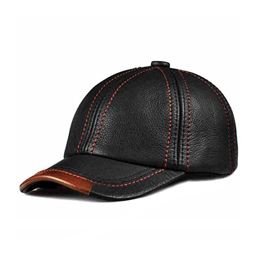 LETHMIK Cool Baseball Cap Adjustable Black Cowhide Leather Ball Cap Hat (Genuine Leather Baseball Cap)