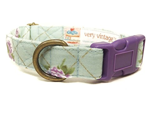 Waterlily – Mint Green Purple Rose Rustic Vintage Organic Cotton Pet Collar – Handmade in the USA