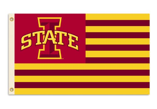 BSI NCAA Iowa State Cyclones 3-by-5 Foot Flag Logo with Stripes with Grommets (Iowa State Cyclones Gift)