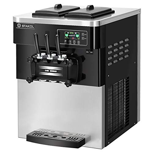 COSTWAY Commercial Ice Cream Machine, Automatic 2200W 20-28L/5.3-7.4Gallon Per Hour Soft & Hard Serve Ice Cream Maker with LCD Display Screen, Auto Shut-Off Timer, 3 Flavors (Sliver+Black)