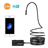 Wireless Endoscope, Depstech WiFi Borescope Inspection Camera 2.0 Megapixels HD Snake Camera for Android and IOS Smartphone, iPhone, Samsung, Tablet - Black(3.5 Meter)