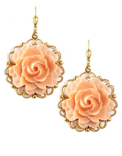 Clara Beau Medium Peach Color Resin Flower Goldtone Filigree Earrings EC385 G-Peach]()