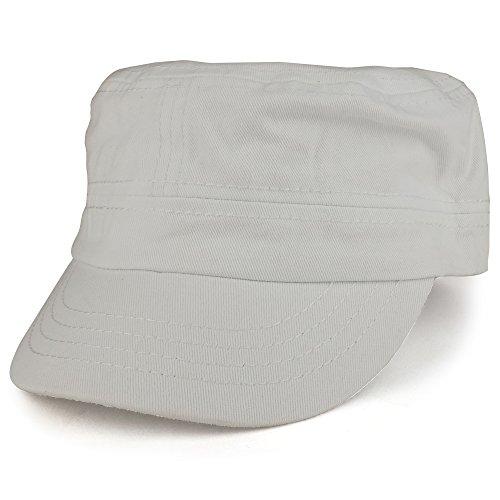 Kid's Plain Cotton Flat Top Youth Size Army Cap - WHITE