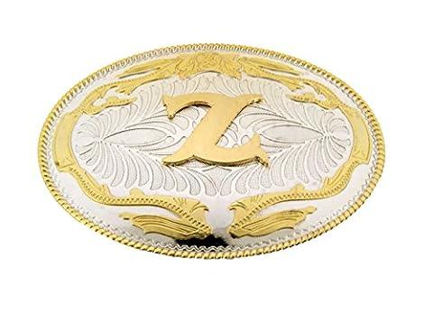 Initial Letter Z Western Style Cowboy Rodeo Gold Costume Halloween Belt Buckle (Hebillas De Rodeo)
