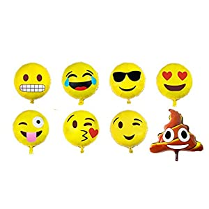 Emoji Balloon Happy Birthday Party - Set of 16 Pack Mylar Foil 18 Inch Helium Reusable Ballons For Congratulation Decoration Anniversary Festival Graduation Bouquet Gift Idea Engagement Celebration