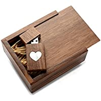 Wooden Walnut 16GB USB Flash Drive Mother of Pearl Heart Design - Inserted into Matching Walnut Box filled with Raffia Grass