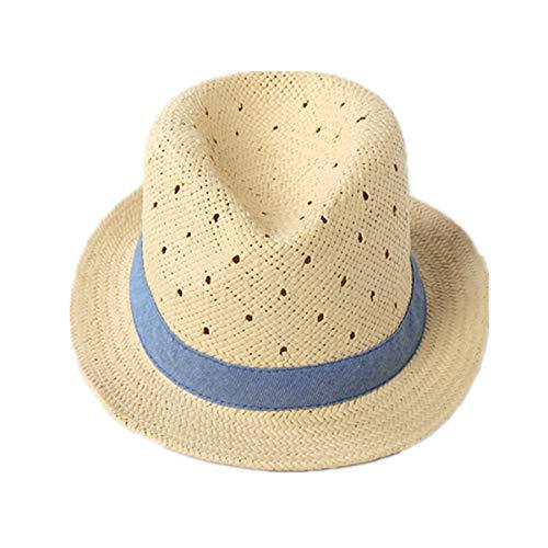 LLmoway Little Boy Fedora Hat Kids Straw Hats Child Boys Girls Summer Short Brim Panama Sun Ha Denim]()