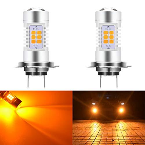 KaTur Super Bright H7 LED Fog Bulb Daytime Lights Car DRL Driving Lamp 2835 21SMD Led Car Driving Daytime Running Lights Xenon Amber 6000K DC 12V 80W (Pack of 2)