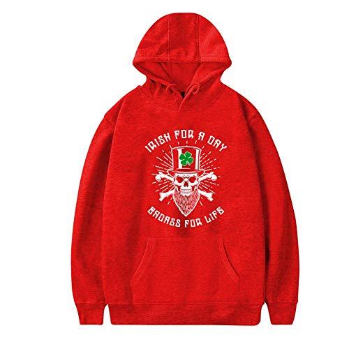 MoKviq Womens Plus Velvet Hoodie,Funny Skull Irish for A Day-Badass for Life Stylish Printed Classic Pocket Sweatshirt L -