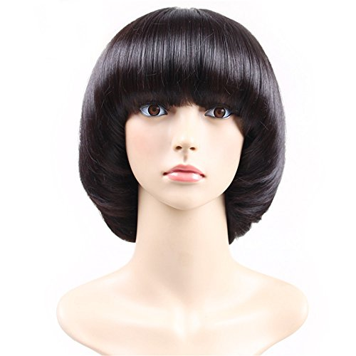 Ladies/Girls Stylish Cosplay Wig of Brilliant Black Mushroom Haircut w-Neat (Short Round Costumes)