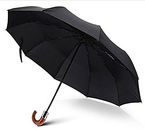 Plain Curved Handle - Compact Unisex Classic Auto Open&Close Wind-Resistant Travel Umbrella Folding Anti-UV Outdoor Business Umbrella-Automatic -Curved Wood Handle Umbrella-Black