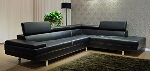 greatime modern sectional sofa black